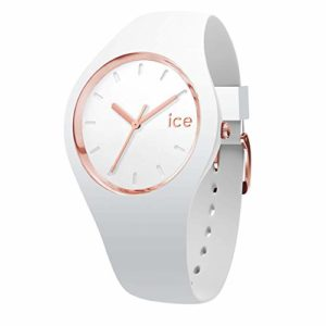 Ice-Watch – Ice Glam White Rose-Gold – Montre Blanche pour Femme avec Bracelet en Silicone – 000977 (Small)