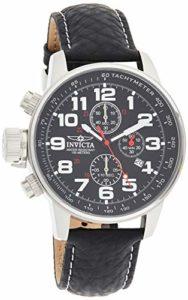 Invicta – Force – 2770 – Montre – Affichage – Chronographe – Bracelet – Cuir – Noir – Cadran – Noir – Hommes