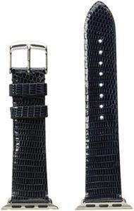 MICHELE MS38AB030400 Bracelet de montre en cuir Motif lézard Bleu 38 mm