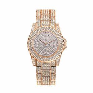Montre tendance pour femme avec diamant en or rose pour femme