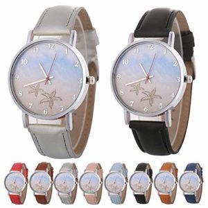 Montre-bracelet, montre à quartz élégante à la mode, montre-bracelet décontractée pour couple unisexe, cadeau d'anniversaire(Bleu clair)