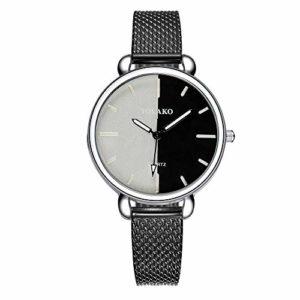 Montre-bracelet, montre pour femme, montre à quartz en plastique pour femme, montre à motif de cadran double couleur(Noir)