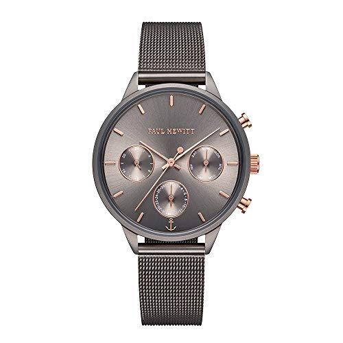 PAUL HEWITT Montre Femme Everpulse Line Metallic Sunray – Cadeau Femme, Bracelet Montre pour Femmes Gris Bracelet en INOX Gris, Cadran Gris