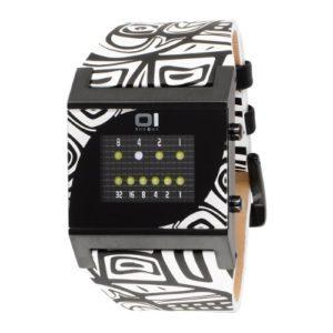 The One – KT218W1 – Montre Homme – Quartz – Système affichage binaire par Led – Bracelet Cuir Multicolore