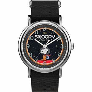 Timex Weekender 38mm Peanuts NASA Analog Quartz Nylon Strap, Black, 20 Casual Watch (Model: TW2T82700JT)