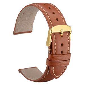 WOCCI 22mm Bracelet de Montre Cuir avec Boucle Doré, Remplacement Unisex (Marron)