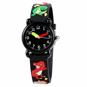YOUTHINK Montre pour Enfants Motif de Bande dessinée Bracelet en PVC étanche à Quartz Montre pour Enfants en Silicone étanche (Dinosaure)(Dinosaur)