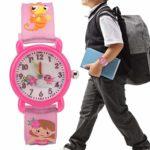 YOUTHINK Montre pour Enfants Motif de Bande dessinée Bracelet en PVC étanche à Quartz Montre pour Enfants en Silicone étanche (Rose/Bleu)(Rose)