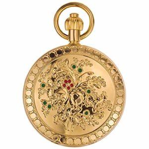 ZHJBD JIAN,Pocket Watch Bouquet Métal Or, Camélias en Métal De Cuivre, Mme Montre Mécanique Automatique Modèle Rétro Classique Infirmière Flip Tableau Accroché.
