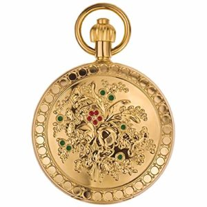ZHJBD JIAN,Pocket Watch Métal Copper Mountain Camélia, Mme Montre Mécanique Automatique Modèle Rétro Classique Infirmière Chiquenaude Tableau Accroché. (Color : 1)