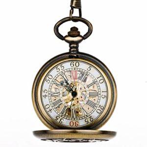 ZHJBD JIAN,Pocket Watch Wonderland Modèle Birdcage Mme Montre De Poche Mécanique Automatique Rétro Cuivre Étudiant Mignon Flip