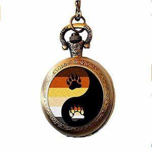 Bear Pride Ying Yang avec patte gay fierté photo collier montre de poche bijoux arc-en-ciel
