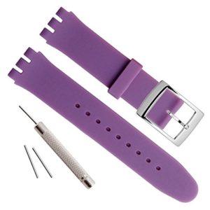 Bracelet de remplacement pour montre de 19mm, GreenOlive – Étanche, en caoutchouc de silicone – Violet