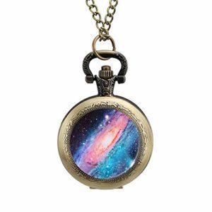 BYRON HOYLE Montre de Poche Tournesol Galaxy Space Nebuleuse Pendentif Quartz Étoiles Gousset Collier avec Chaîne pour Homme Femme
