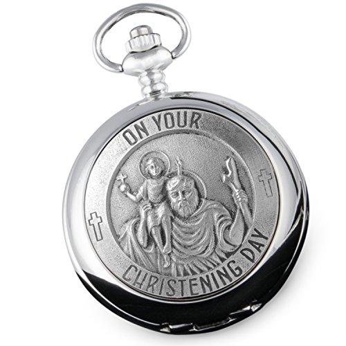 De Walden Montre gousset/montre de poche superbe en étain pour le baptême d'un jeune garçon Motif Saint Christophe Livrée dans une boîte cadeau de qualité