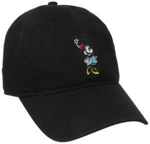 Disney Women's Minnie Mouse Washed Baseball Cap, Adjustable with Slide, Black, ONESIZE