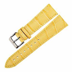 en Cuir véritable Montre du Bracelet Montre Bracelet Bracelet Montre Accessoires Bracelets Jaune,20mm