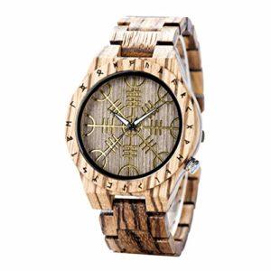 GMFOSEOZ Montre en Bois pour Homme Montre-Bracelet à Quartz pour Homme à la Main Montre-Bracelet Cadeau spécial élégant Brown Without Box