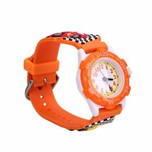 ibasenice 3D Voiture Enfants Montre Étanche Silicone Temps Professeur Montre-Bracelet Montre de Bande Dessinée pour Enfants Tout-Petits Enfants (Orange)