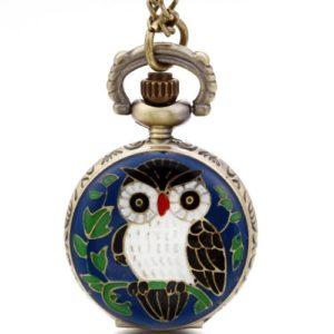 JewelryWe Montre de Poche Quartz Hibou de Soir Pendentif Collier Alliage Fantaisie pour Homme et Femme Couleur Bleu Noir Blanc avec Sac Cadeau
