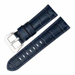 Montre Bleu en Cuir véritable Bande 22mm-26mm Montre Bracelets Accessoires Montre Bracelet Boucle en Acier Inoxydable,22mm