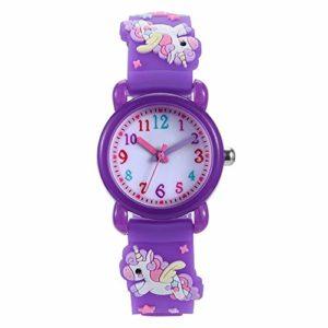 Montre Enfant ZWRY Montre de Dessin animé pour Enfants 3D Montre à Quartz étanche Montre Cadeau pour Enfants Montre Violet