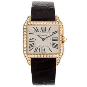 Montre pour femme avec cadran de 18 K en or rose par Cartier Santos Dumont Wh100351