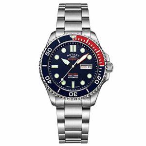 Montre pour homme Rotary Super 7 Plongée 'Pepsi' automatique Cadran Bleu Marine Cadran Argent Acier Inoxydable Bracelet pour Homme S7S004B
