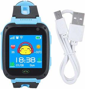 Montres Intelligentes pour Enfants, Montres de Suivi GPS Anti-Perte pour Enfants, Montres à Écran de Sécurité avec Caméras,Blue