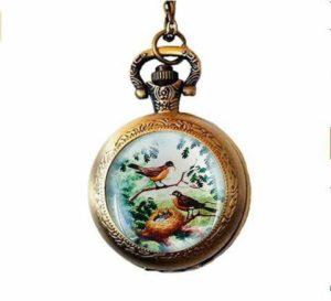 qws Collier avec pendentif oiseau pour montre de poche