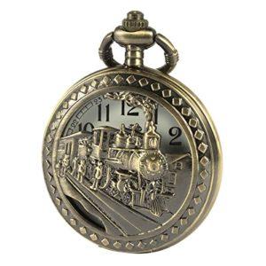 SIBOSUN Hommes Montre de poche Avec chaîne bronze Antique ferroviaire Train 3D Locomotive à vapeur Creux + Boîte