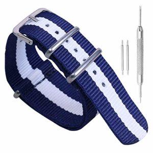 12mm de style NATO bleu foncé / blanc / bleu foncé haut de gamme doux tissu en nylon balistique bracelet bracelet pour les femmes