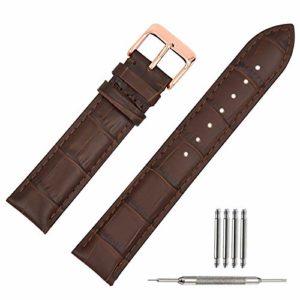 20mm Bracelet Montre Cuir Marron Bande de Bracelet Montre Cuir Remplacement Boucle pour Montre Homme Femme 18mm 19mm 20mm 22mm (22mm)
