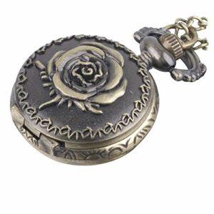 81stgeneration Montre de Poche Analogique Quartz Style Vintage Rose Fleur Femmes Laiton – 01glVCN097w
