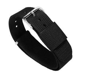 Barton Bandes de montre–Choix de couleur, longueur et largeur (18mm, 20mm, 22mm ou 24mm)–Sangles en nylon balistique, mixte, noir