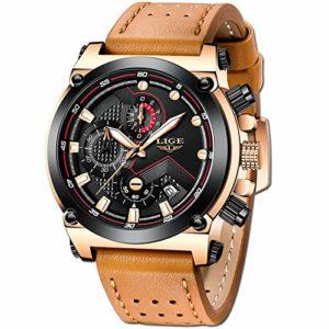 Bracelets de montres pour de Luxe Mode Etanche Sport Date Calendrier Design Mince Quartz Analogique Montre de Décontractée Entreprise Marron Bande de Cuir Véritable Or Rose Luxe Watch