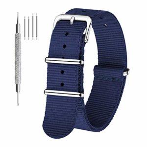 CIVO Bracelet de montre Bande Watch Bande de montre prime NATO Ballistic Nylon Bracelet en acier inoxydable Boucle 18mm 20mm 22mm avec la barre d'outils Top Spring et 4 Bars Spring Bonus (Navy Blue, 20mm)