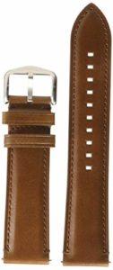 Fossil Bracelet de montre en cuir 22 mm Argent/cuir marron foncé marron