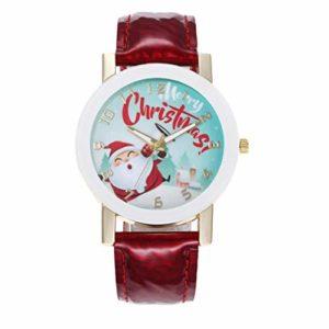 Hemobllo Montre-Bracelet Analogique à Quartz Adorable Père Noël Sorcière Bracelet en Cuir Montre Cadeau de Noël pour Enfants Fille Garçon Femmes (Rouge)