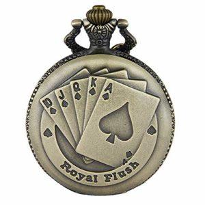 JewelryWe Pendentif Collier Montre de Poche Ronde Quartz Fantaisie Poker et Chiffres Alliage Couleur Cuivre Montre à Gousset pour Homme Femme