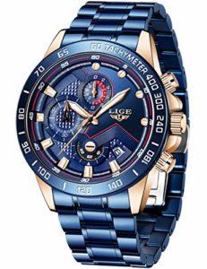 LIGE Homme Montres Mode élégant Militaire Étanche Quartz Montre Sport Chronographe Acier Inoxydable Bracelet Classique Business Bleu Calendrier Homme
