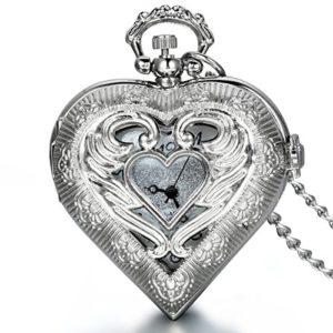 Médaillon pendentif cœur en argent Jewelrywe style montre de poche vintage pour femme, chaîne 76,2cm (avec pochette cadeau) pour la Saint Valentin