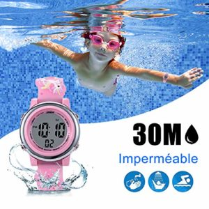 Montre Enfant Digital KZKR Montre Fille Sports Retroeclairage Alarme Montre Enfant Fille Silicone 12/24h Time-Teacher Rose Licorne