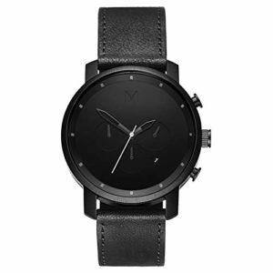 MVMT Watches Classic Black/Black Leather Montre Homme