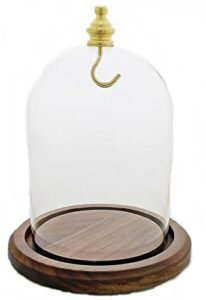 Pocket Watch Glass Display Dome Walnut Base & Yellow (Gold) Hook, Color: