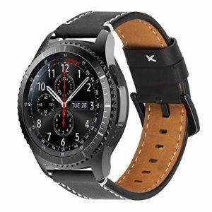 Pour Gear S3 Bracelet, iBazal Gear S3 Frontier / Classic Bracelet de Montre 22mm V¨¦ritable Bracelet en Cuir avec Fermoir Noir pour Samsung Gear S3 Frontier / Classic SM-R760 – Noir