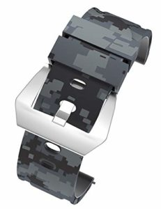 VINBAND Bracelet Montre Camo Remplacer Silicone Bracelet Montre – 20mm, 22mm, 24mm, 26mm Caoutchouc Montre Bracelet avec Acier Inoxydable Boucle for Panerai (24mm, Gris Foncé-Argent)