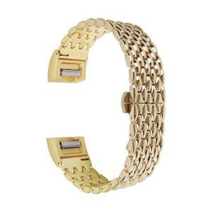 AISPORTS Bracelet de rechange en acier inoxydable avec fermoir en métal pour Fitbit Charge 2 Bracelet de montre Fitbit Charge 2 Doré