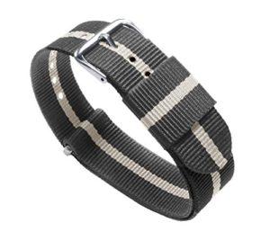 Barton Bandes de montre–Choix de couleur, longueur et largeur (18mm, 20mm, 22mm ou 24mm)–Sangles en nylon balistique, mixte, Smoke/Linen