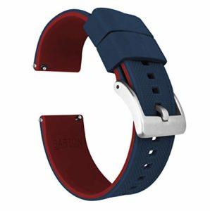 Barton Elite Bracelet de montre en silicone à libération rapide, couleur au choix, 18mm, 19mm, 20mm, 21mm, 22mm, 23mm et 24mm 22mm Haut bleu marine/bas rouge carmin